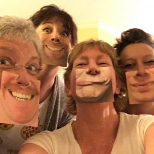 "Fun with author friend Janet Sheppard Kelleher (left), author of ""Big C, little ta-ta"" and her daughter (2nd from left) and another friend (right). Yours truly is snapping the selfie!"