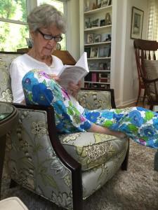 Mum reading my novel a few weeks ago.