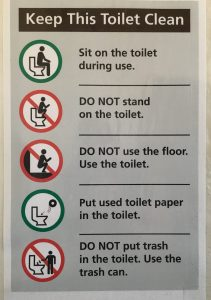 Toilet Rules posted in public toilet, Delicate Arch parking area.